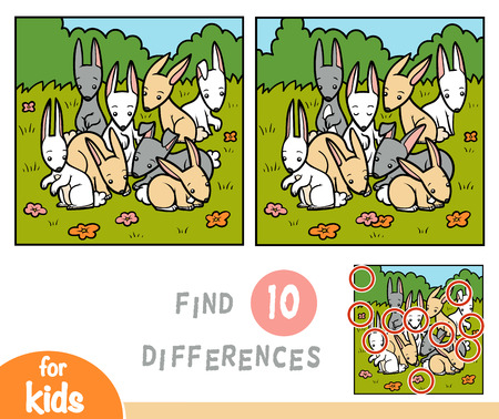 Find differences education game for children, rabbits