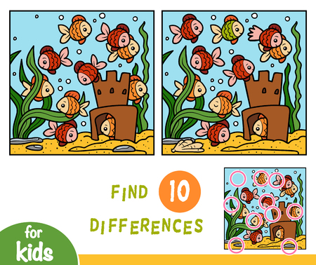 Find differences education game for children, Ten fish