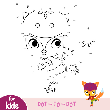 Numbers game, education dot to dot game for children, Fox on roller skates