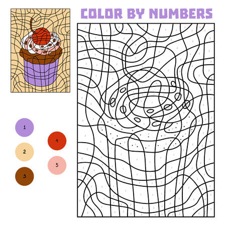 Color by number, education game for children, Cupcake Vectores