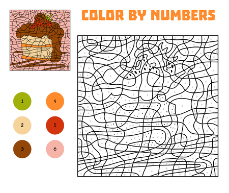 Color by number, education game for children, Cake Vectores