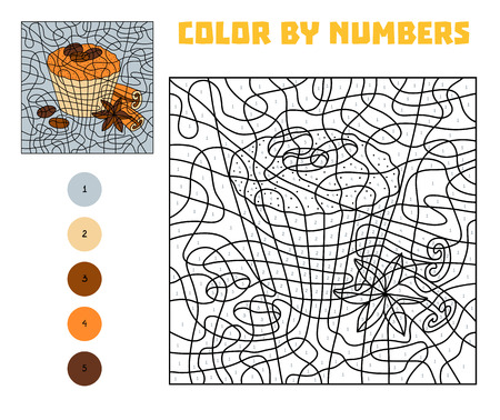Color by number, education game for children, Cinnamon Muffin Vectores