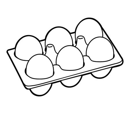 Livre de coloriage pour des enfants, six oeufs de poule