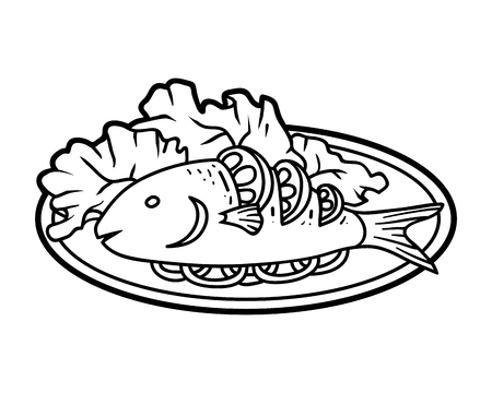 Coloring book for children, Grilled fish on plate