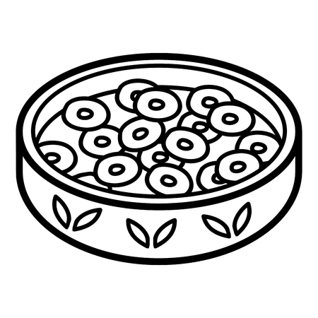 Coloring book for children, Cereal with milk in bowl