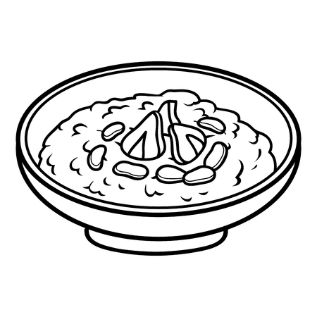 Coloring book for children, Milk porridge with nuts and berries