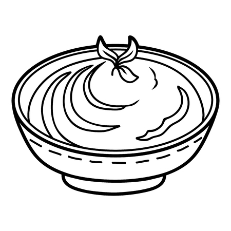 Coloring book for children, Mashed potatoes bowl