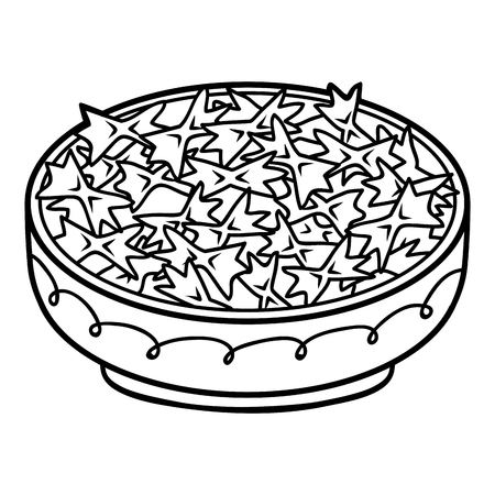 Coloring book for children, Pasta farfalle in bowl