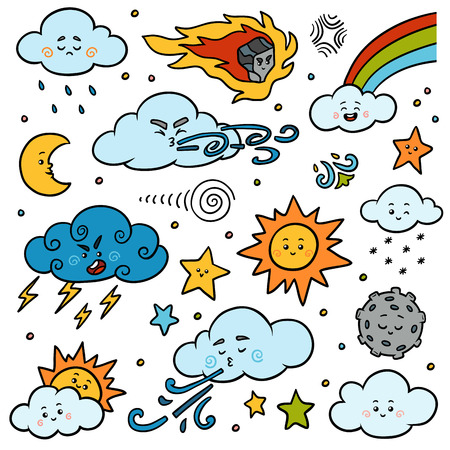 Color set of nature objects. Vector cartoon collection of weather icons - sun, clouds, rainbow, moon