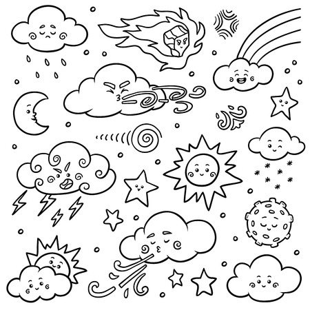 Black and white set of nature objects. Vector cartoon collection of weather icons - sun, clouds, rainbow, moon