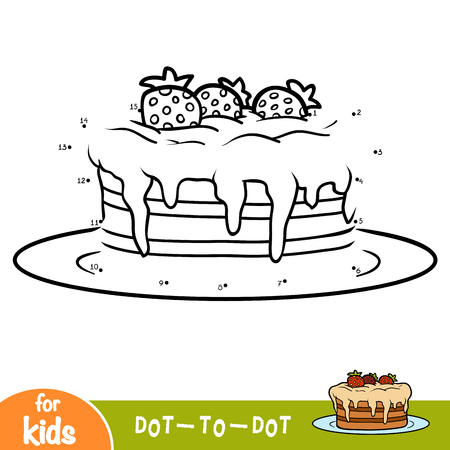 Numbers game, education dot to dot game for children, Cake