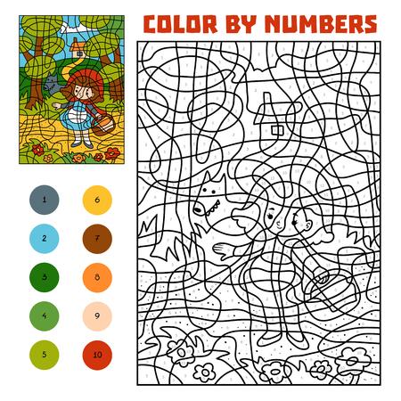 Color por número, juego educativo para niños. Cuentos de hadas. Caperucita Roja y Lobo Feroz