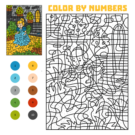 Color by number, education game for children. Princess missing a shoe