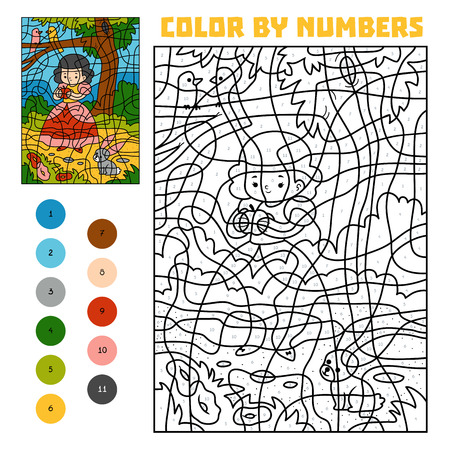 Color by number, education game for children. Fairy tales. Snow white and apple Illustration