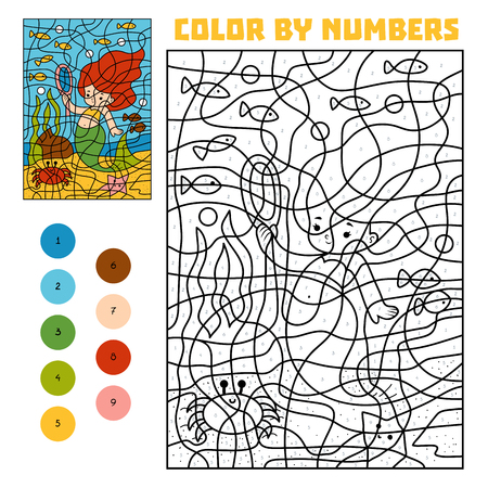 Color by number, education game for children. Fairy tales. Little Mermaid and a mirror