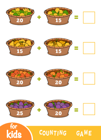 Counting Game for Preschool Children. Educational a mathematical game. Addition worksheets. Fruit baskets with apples, pears, plums and apricots  イラスト・ベクター素材