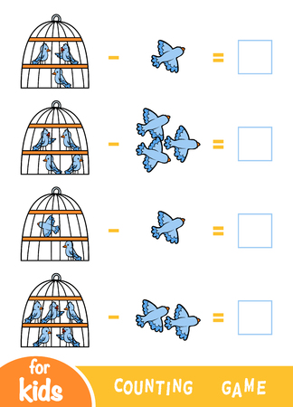 Counting Game for Preschool Children. Educational a mathematical game. Subtraction worksheets. Birds and cages