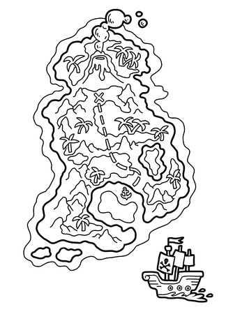 Coloring book for children, Pirate map with a tropical island