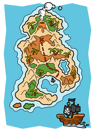 Cartoon vector illustration for children, Pirate map with a tropical island Illustration