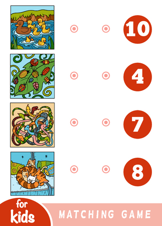 Matching education game for children. Count the animals and choose right number. Cartoon animals on a colored background - ducks, bugs, snakes, cats