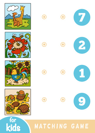 Matching education game for children. Count the animals and choose right number. Cartoon animals on a colored background - giraffes, bees, rooster, tortoises Ilustração