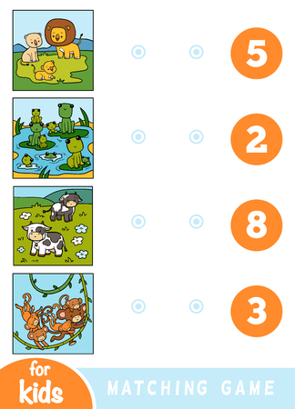 Matching education game for children. Count the animals and choose right number. Cartoon animals on a colored background - lions, frogs, cows, monkeys