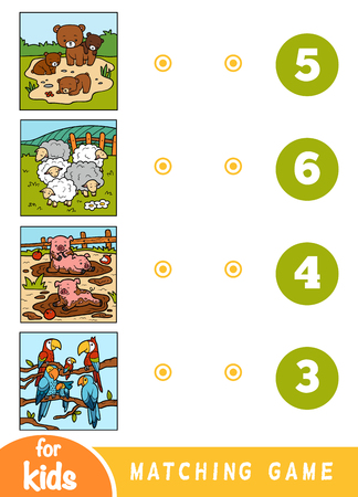 Matching education game for children. Count the animals and choose right number. Cartoon animals on a colored background - bears, sheep, pigs, parrots