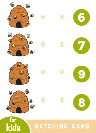 Matching education game for children. Count how many bees are in the picture and choose the correct number.
