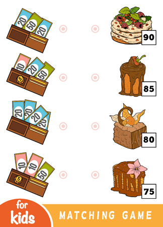 Matching education game for children. Count how many money is in each wallet and choose the correct price. A set of deserts