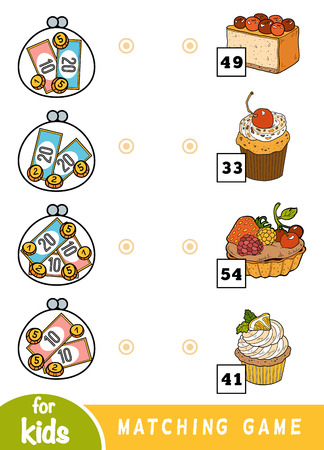 Matching education game for children. Count how many money is in each wallet and choose the correct price. A set of deserts - cupcake, tartlet, muffin, cake Vectores