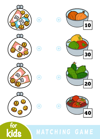 Matching education game for children. Count how many money is in each wallet and choose the correct price. A set of vegetables - onion, pepper, cucumber, tomato