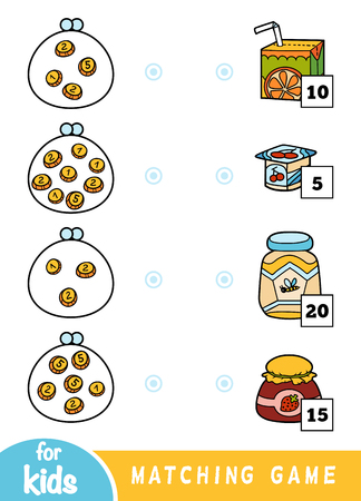Matching education game for children. Count how many money is in each wallet and choose the correct price. A set of different foods on the market - orange juice, yoghurt, honey, jam jar Ilustração