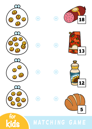 Matching education game for children. Count how many money is in each wallet and choose the correct price. A set of different foods on the market - salami, ketchup, bread, sunflower oil