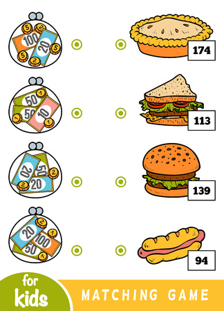 Matching education game for children. Count how many money is in each wallet and choose the correct price. A set of different dishes in the cafe - burger, pie, sandwich, hotdog