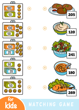 Matching education game for children. Count how many money is in each wallet and choose the correct price. A set of different dishes in the cafe