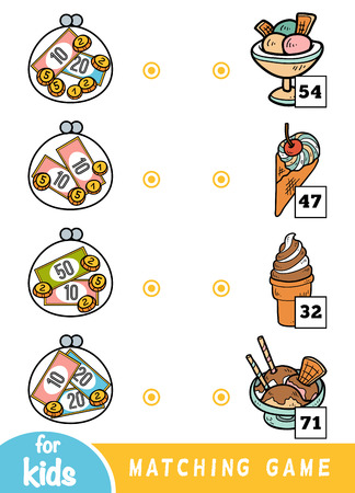 Matching education game for children. Count how many money is in each wallet and choose the correct price. Ice cream set in a cafe