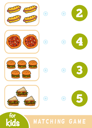 Matching education game for children. Count how many items and choose the correct number. Fast food set - hotdog, pizza, sandwich, burger