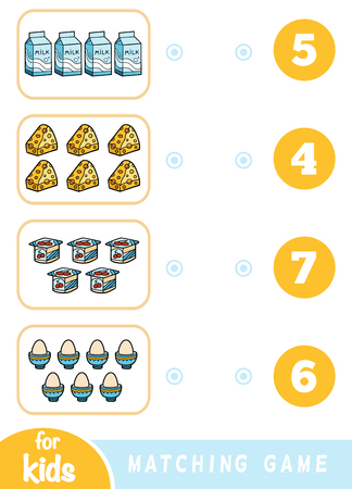Matching education game for children. Count how many items and choose the correct number. A set of food - yogurt, milk, cheese, egg