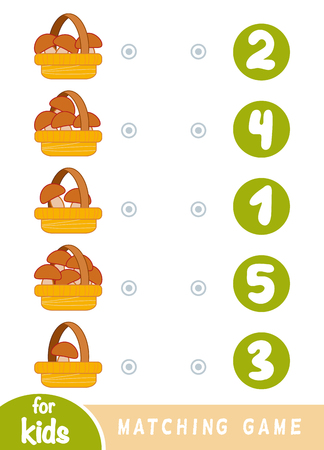 Matching education game for children. Count how many mushrooms in in baskets and choose the correct number