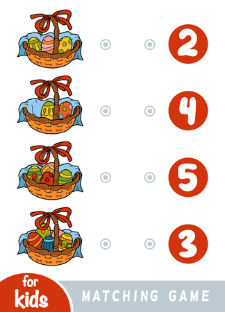 Matching education game for children. Count how many Easter eggs are in the basket and choose the correct number