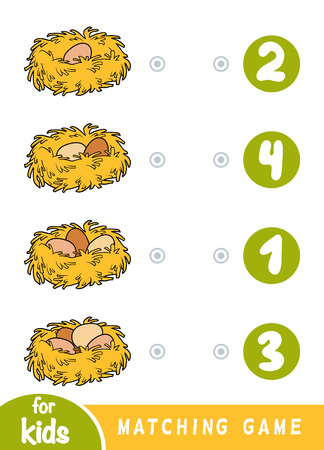 Matching education game for children. Count how many eggs are in the nest and choose the correct number. Banque d'images - 118622657