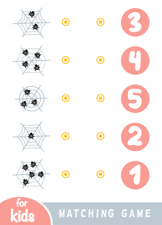 Matching education game for children. Count how many spiders are in the picture and choose the correct number.