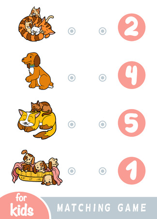 Matching education game for children. Count how many dogs and cats and choose the correct number Banque d'images - 118622658