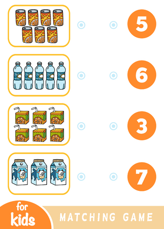 Matching education game for children. Count how many items and choose the correct number. Drink set - juice, milk, water, soda