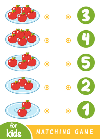 Matching education game for children. Count how many apples and choose the correct number