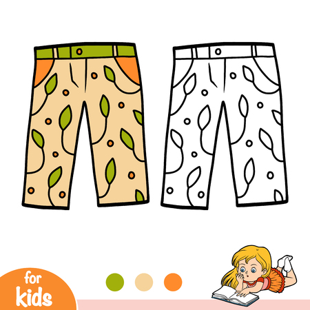 Coloring book for children, Capri trousers 矢量图像