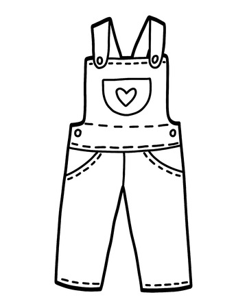 Coloring book for children, Kids dungarees
