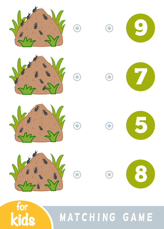 Matching education game for children. Count how many ants and choose the correct number