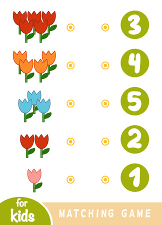 Matching education game for children. Count how many flowers and choose the correct number