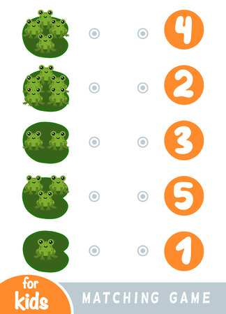 Matching education game for children. Count how many frogs and choose the correct number